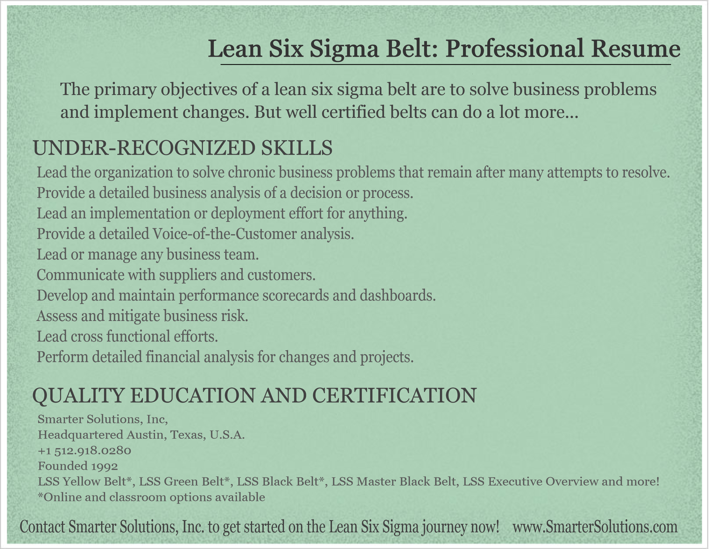 Infographic why your manager wants lean six sigma belts working download xflitez Choice Image