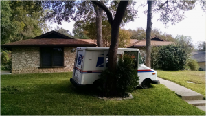 Postal Truck Accident in our yard
