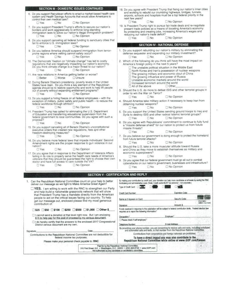 avoiding survey bias questions, Republican Party Congressional District Census, page 2
