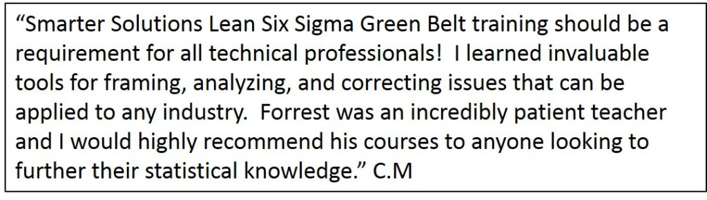 Lean Six Sigma Green Belt Training Testimonial