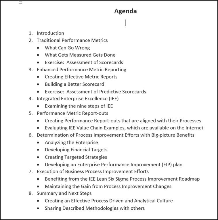 Agenda for business management system training